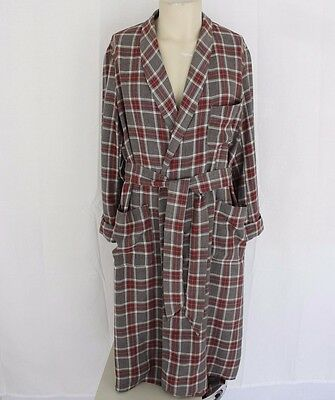 Mens VINTAGE Linen Robe Taupe Gray Red White Plaid MEDIUM Ohio State Lightweight