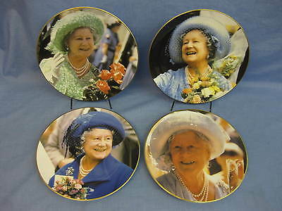 4 Portraits Of The Queen Mother Plates ~ Royal Albert Bone China ~ Limited Ed.
