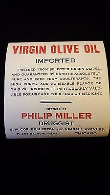 Antique 1910 Virgin Olive Oil Medicine Bottle Label by Druggist Quack Medicine