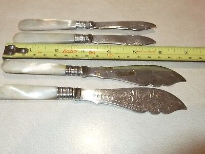 2 LARGE and 2 SMALL VINTAGE MOTHER of PEARL HANDLE SILVER BUTTER KNIFES