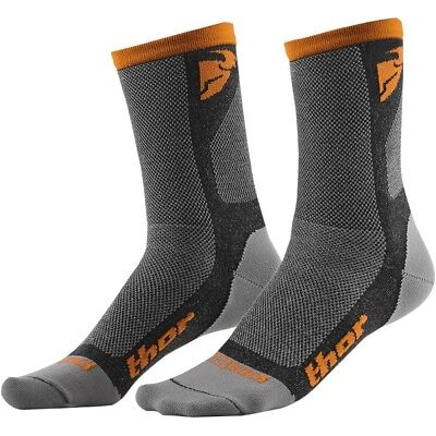 Thor Dual Sport Socks Motocross Enduro Socken Strümpfe grau/orange