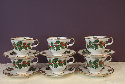 Set Of 6 Rosina Fine Bone China Christmas Yuletide Tea Cup And Saucer