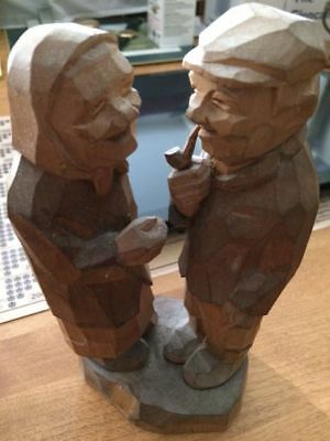 Antique Wood Carving Chatting Couple Finland 1956
