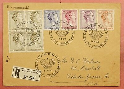 1960 Fdc Luxembourg Registered To Usa
