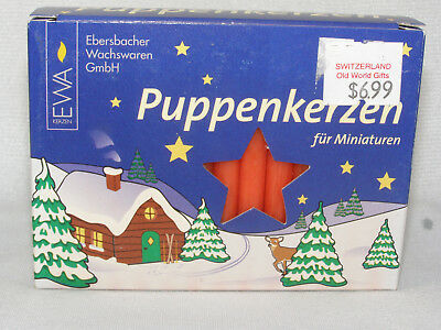 NEW Box 20 RED German PUPPENKERZEN Christmas Pyramid Tree Candles - Miniatures