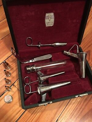 Antique Vintage Welch Allyn Chrome Medical Instruments with Velvet Lined Box