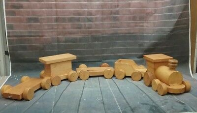 Hand Crafted Wooden Train 5 Piece Set Childs Toy Handmade Genuine Wood