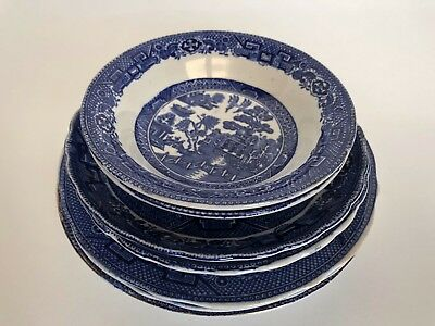 Allertons W Adams & Sons Blue Willow Lot of Seven Variety Plates Bowls Saucers