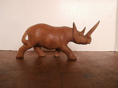 Hand Carved Wooden Rhino FREE USA SHIPPING