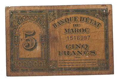 Morocco 5 francs 1943 first issue