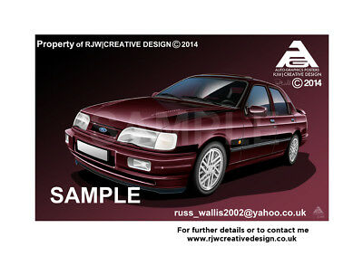 Ford Sierra RS Cosworth Sapphire A3 Poster Print