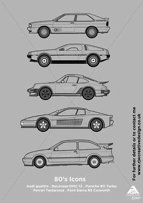 1980's Iconic Classic Cars A3 Poster Print
