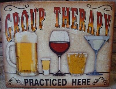 Group Therapy Metal Tin Sign Made USA Bar Dorm Beer Wine Alcohol Funny New Gift