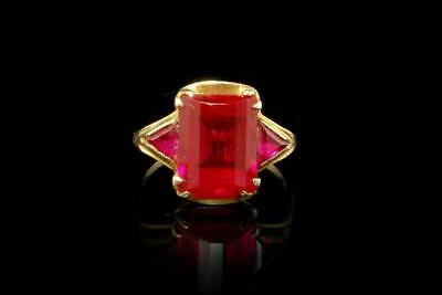 Antique Victorian Pink Ruby Paste 10K Gold Ring Aopc-20