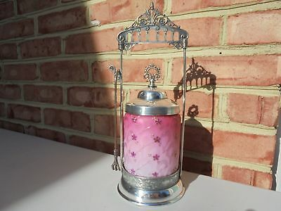 Old Antique Art Glass Silverplate Pickle Castor Quilted Satin MOP Cranberry