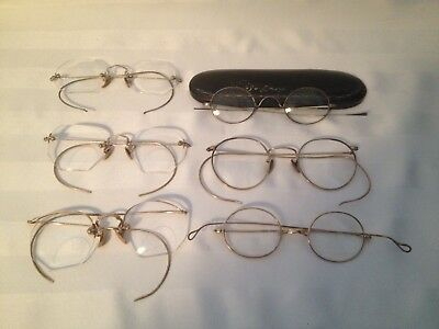 Lot Of 6 Vintage Antique Eyeglasses Wire Rimmed Octagon