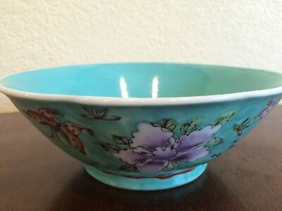 Antique Vintage Chinese Turquoise Famille Enameled Floral Bowl Signed