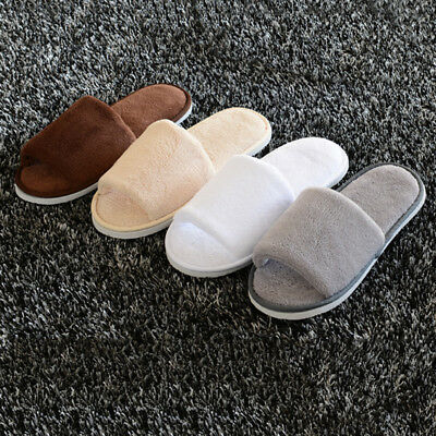 Unisex Womens Mens Open Toe Winter Slippers Warm House Indoor Hotel Shoes New