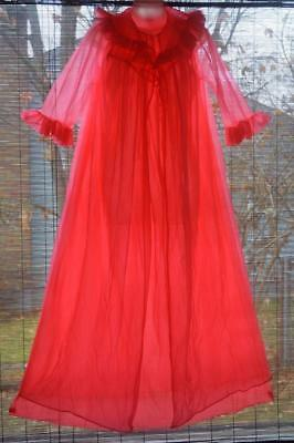 vintage dbl POOFY day glo NEON  CHiFFON gown NIGHTGOWN m- L