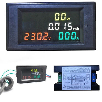 AC 80-300V 100A CT LCD Digital Voltmeter #Ammeter Volt Amp Power Kwh Panel Meter