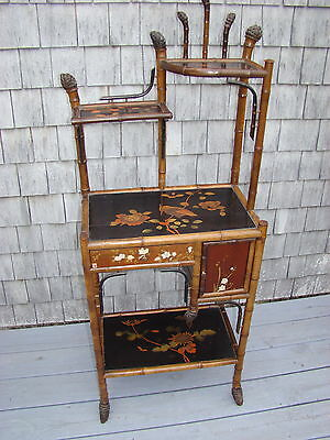 GORGEOUS JAPANESE MEIJI EXPORT VANITY ca. 1880s BAMBOO & LACQUER