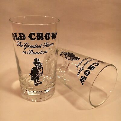 (2) cool OLD CROW glasses--GREATEST NAME IN BOURBON--kentucky whiskies--NEW