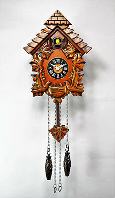 Traditional Antique Carved Timber Wooden Cuckoo Clock with Leaves Birds 050 1.5k