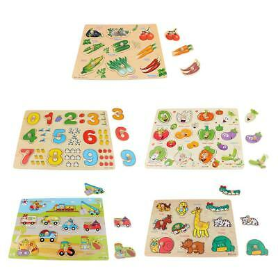 5pcs My First Baby Fruits en bois Peg Puzzles Farm Animal Car Early Learning