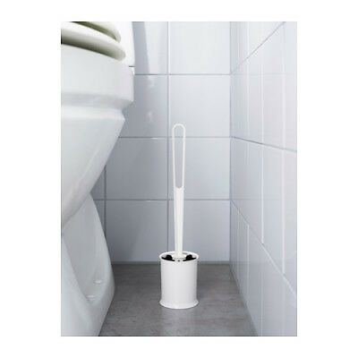 IKEA TACKAN Plastic Toilet Brush and Holder Set 33.5 x 7.5 cm in White
