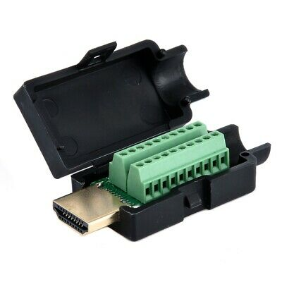 HDMI 19P Plug Breakout Terminals Solderless Wire Connector With Black Cover Male
