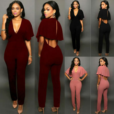 Women Ladies Clubwear Playsuit V-neck Bodycon Party Jumpsuit Romper Trousers New
