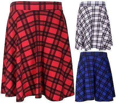 5258f0f0d76 Womens New Tartan Check Printed Ladies Stretch Fit Flared Skater Skirt Plus  Size