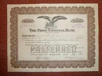 The First National Bank of Carbondale, div. Shares, 1933, BANK