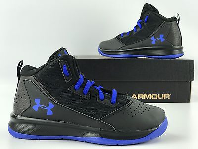 144c5afa57ea Under Armour Boys  Grade School Jet Mid Basketball Shoes Black Blue 1274067  003