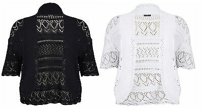b79e32407a WOMENS PLUS SIZE Short Sleeve Ladies Knit Crochet Shrug Bolero Open  Cardigan Top