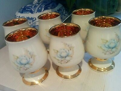 Set of 6 Vintage Prinknash floral  wine goblets gold lined