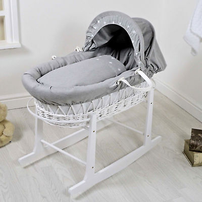 New 4Baby White Wicker / Galaxy Grey Deluxe Baby Moses Basket & Rocking Stand