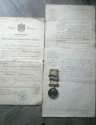 1854 Crimea Medal Sebastopol & alma Bars to French Recipient + support documents