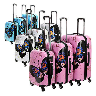 Butterfly Print 3PCS Luggage Set 4 Wheels PC Trolley Suitcase White/Pink/Blue