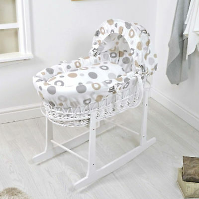 New 4Baby White Wicker / Grey Bubbles Deluxe Baby Moses Basket & Rocking Stand