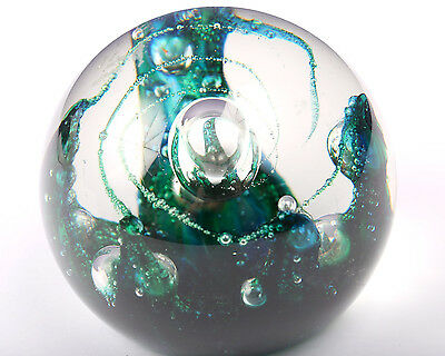Selkirk Glass Paperweight, Electra, Vintage 1979, Blue, Green