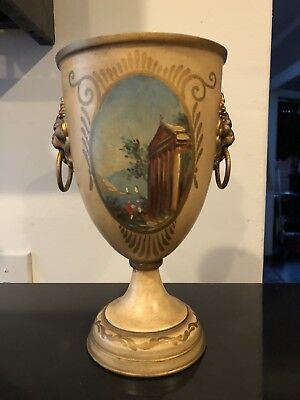 "Vintage 10"" Tole Metal Urn with decorative lion handles Made in France"