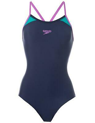 Speedo Splice Thinstrap Racerback Swimsuit 810837B373 Navy/Purple Swim Costume