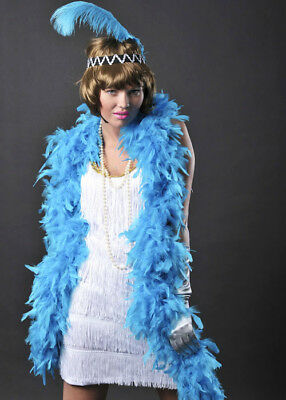 1920s Flapper Girl Deluxe Turquoise Feather Boa