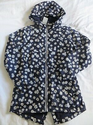 BNWT Girls Blue White Floral Light Weight Fleece Lined Hooded Jacket Coat Age 13
