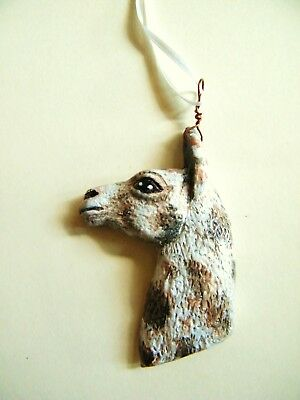 Llama Hand made Christmas Ornament Clay Art by Lamalew #t