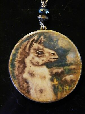 Guard Llama with Sheep Art on Wood necklace Pendant by Lamalew Sue