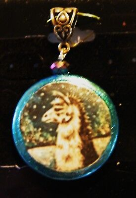Llama in the Snow Art on Stone necklace Pendant by Lamalew Sue
