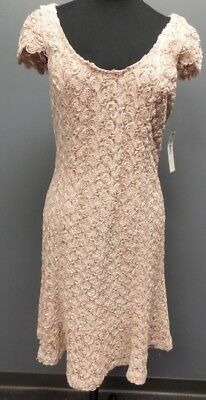BADGLEY MISCHKA COLLECTION Blush Pink Lace Overlay Knee Dress Size 8 NWT DD0646