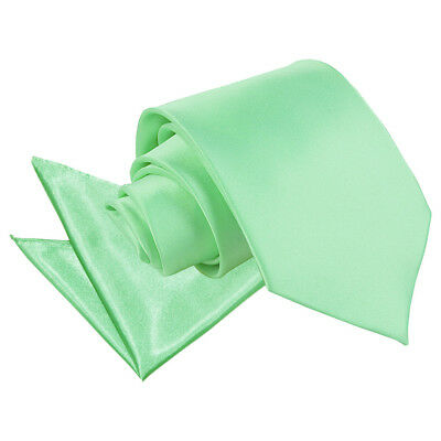 DQT Satin Plain Solid Mint Green Mens Classic Tie & Hanky Wedding Set